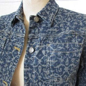Jones NY Sport Denim Jacket, S, Scroll Design EUC